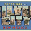 SILVER CITY, New Mexico large letter linen postcard Teich