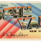 PENN YAN, New York large letter linen postcard Tichnor