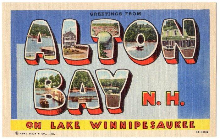 ALTON BAY, New Hampshire large letter linen postcard Teich