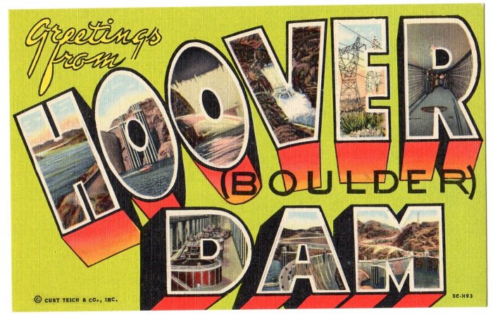 HOOVER DAM, Nevada large letter linen postcard Teich