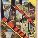 LAS VEGAS, Nevada large letter linen postcard Teich