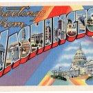 WASHINGTON large letter linen postcard Beals