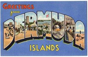 BERMUDA ISLANDS large letter linen postcard Teich