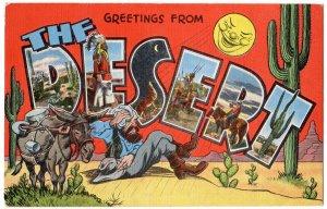 The DESERT large letter linen postcard Kropp