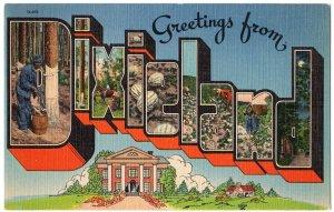 DIXIELAND large letter linen postcard
