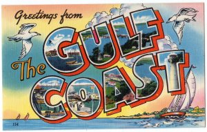 GULF COAST large letter linen postcard Colourpicture