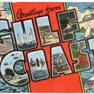 GULF COAST large letter linen postcard Kropp