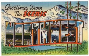 SCENIC NORTHWEST large letter linen postcard Colourpicture