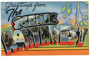 SCENIC NORTHWEST large letter linen postcard Tichnor