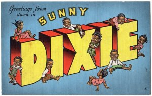 DIXIE large letter linen postcard Kropp