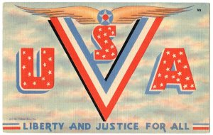 USA military large letter linen postcard Tichnor