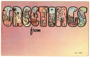 GREETINGS From large letter linen postcard