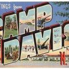 CAMP DAVIS, North Carolina large letter linen postcard Teich