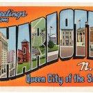 CHARLOTTE, North Carolina large letter linen postcard Teich