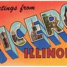 CICERO, Illinois large letter linen postcard Teich