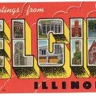 ELGIN, Illinois large letter linen postcard Teich