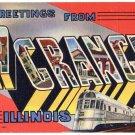 LA GRANGE, Illinois large letter linen postcard Teich