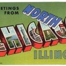 NORTH CHICAGO, Illinois large letter linen postcard Teich