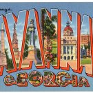 SAVANNAH, Georgia large letter linen postcard Tichnor