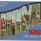MARTINSVILLE, Indiana large letter linen postcard Teich