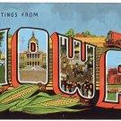 IOWA large letter linen postcard Kropp