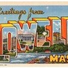 LOWELL, Massachusetts large letter linen postcard Teich