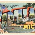 CADILLAC, Michigan large letter linen postcard Teich