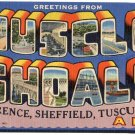MUSCLE SHOALS, Alabama large letter linen postcard Teich