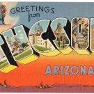 TUCSON, Arizona large letter linen postcard Tichnor