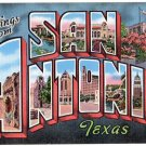 SAN ANTONIO, Texas large letter linen postcard Kropp