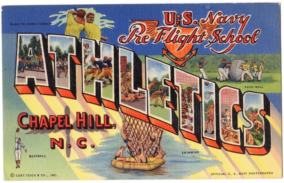 ATHLETICS, North Carolina large letter linen postcard Teich