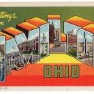 HAMILTON, Ohio large letter linen postcard Teich