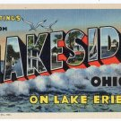 LAKESIDE, Ohio large letter linen postcard Teich