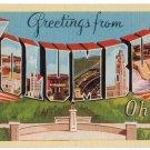 COLUMBUS, Ohio large letter linen postcard Dexter
