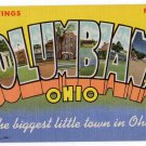 COLUMBIANA, Ohio large letter linen postcard Teich