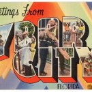 YBAR CITY, Florida large letter linen postcard Tichnor
