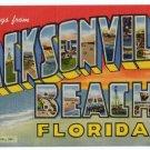 JACKSONVILLE BEACH, Florida large letter linen postcard Teich