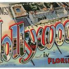 HOLLYWOOD, Florida large letter linen postcard Teich