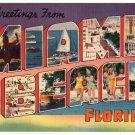 MIAMI BEACH, Florida large letter linen postcard Colourpicture