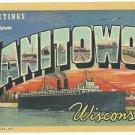 MANITOWOC, Wisconsin large letter linen postcard Teich