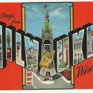 MILWAUKEE, Wisconsin large letter linen postcard Kropp
