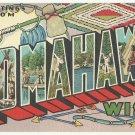 TOMAHAWK, Wisconsin large letter linen postcard Teich
