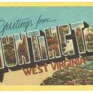 HUNTINGTON, West Virginia large letter linen postcard Dexter