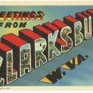 CLARKSBURG, West Virginia large letter linen postcard Teich