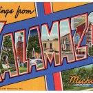 KALAMAZOO, Michigan large letter linen postcard Teich