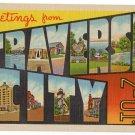 TRAVERSE CITY, Michigan large letter linen postcard Teich