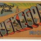 MUSKEGON, Michigan large letter linen postcard Teich