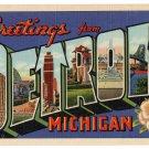 DETROIT, Michigan large letter linen postcard Teich