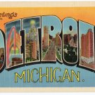 DETROIT, Michigan large letter linen postcard Metropolitan