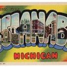 ESCANABA, Michigan large letter linen postcard Teich